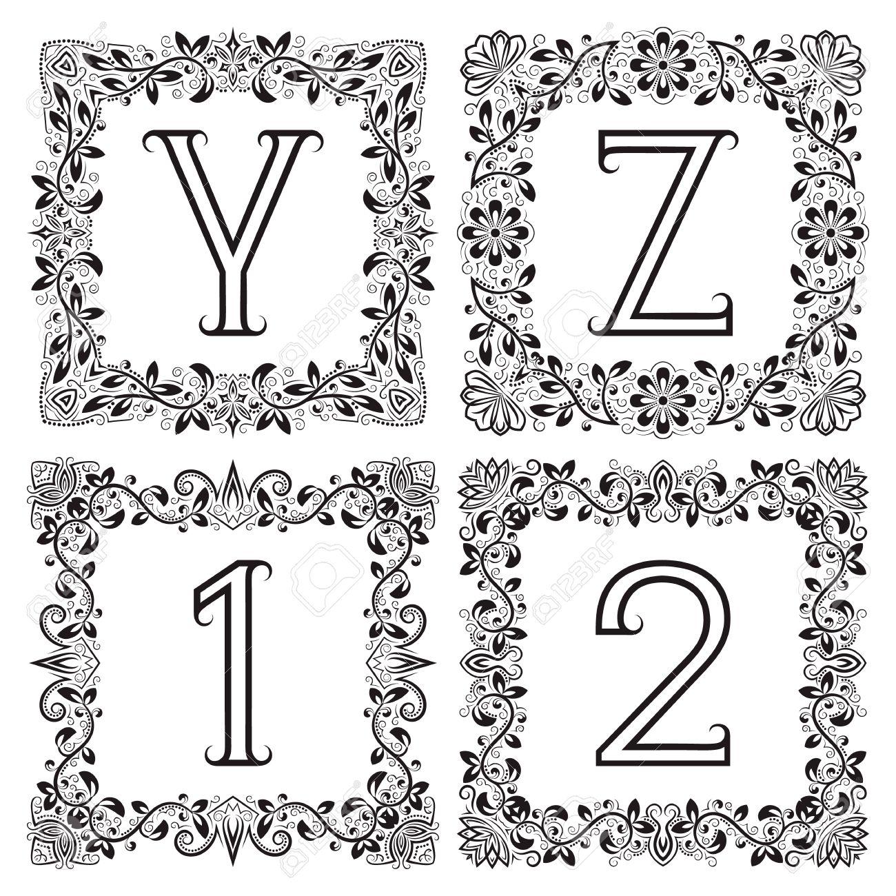 Monogramas Conjunto Vendimia. Las Letras Y, Z Contorno Y 1, 2 ...