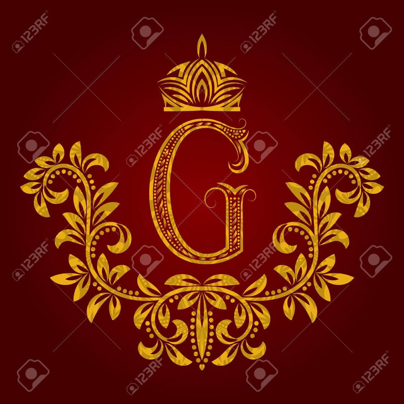 Modelado Monograma De La Letra G De Oro En Estilo De La Vendimia ...