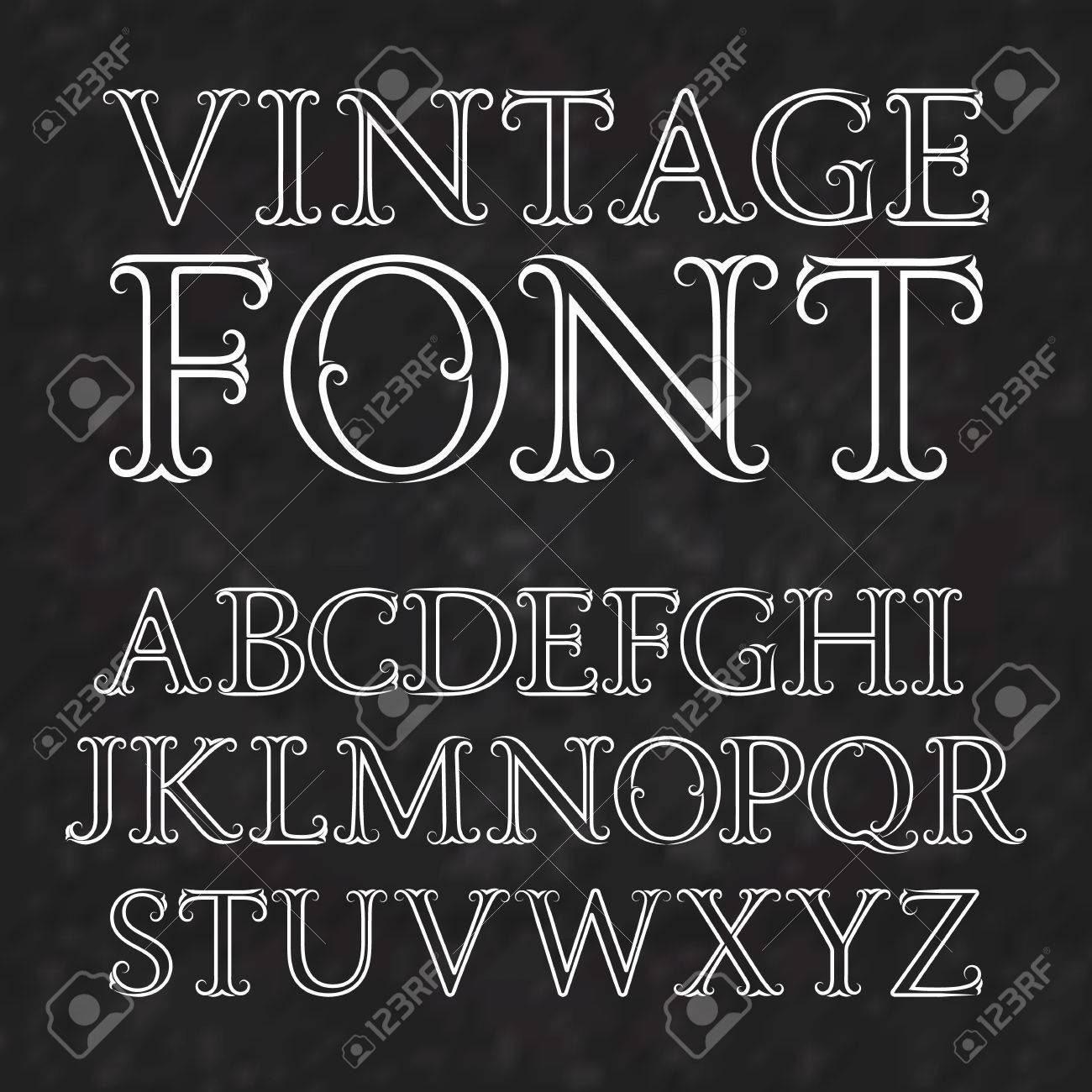 Vector , Vintage letters with flourishes. Vintage font in baroque style.  Vintage latin alphabet. White outline capital letters on a black textured