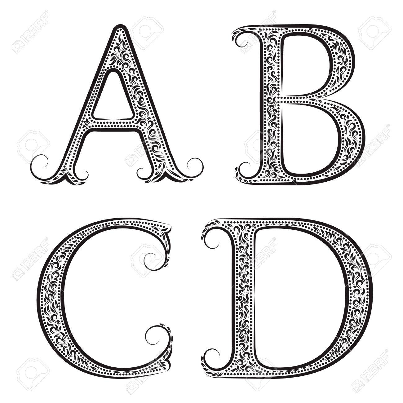A B C D Vintage Patterned Letters Font In Floral Baroque Style