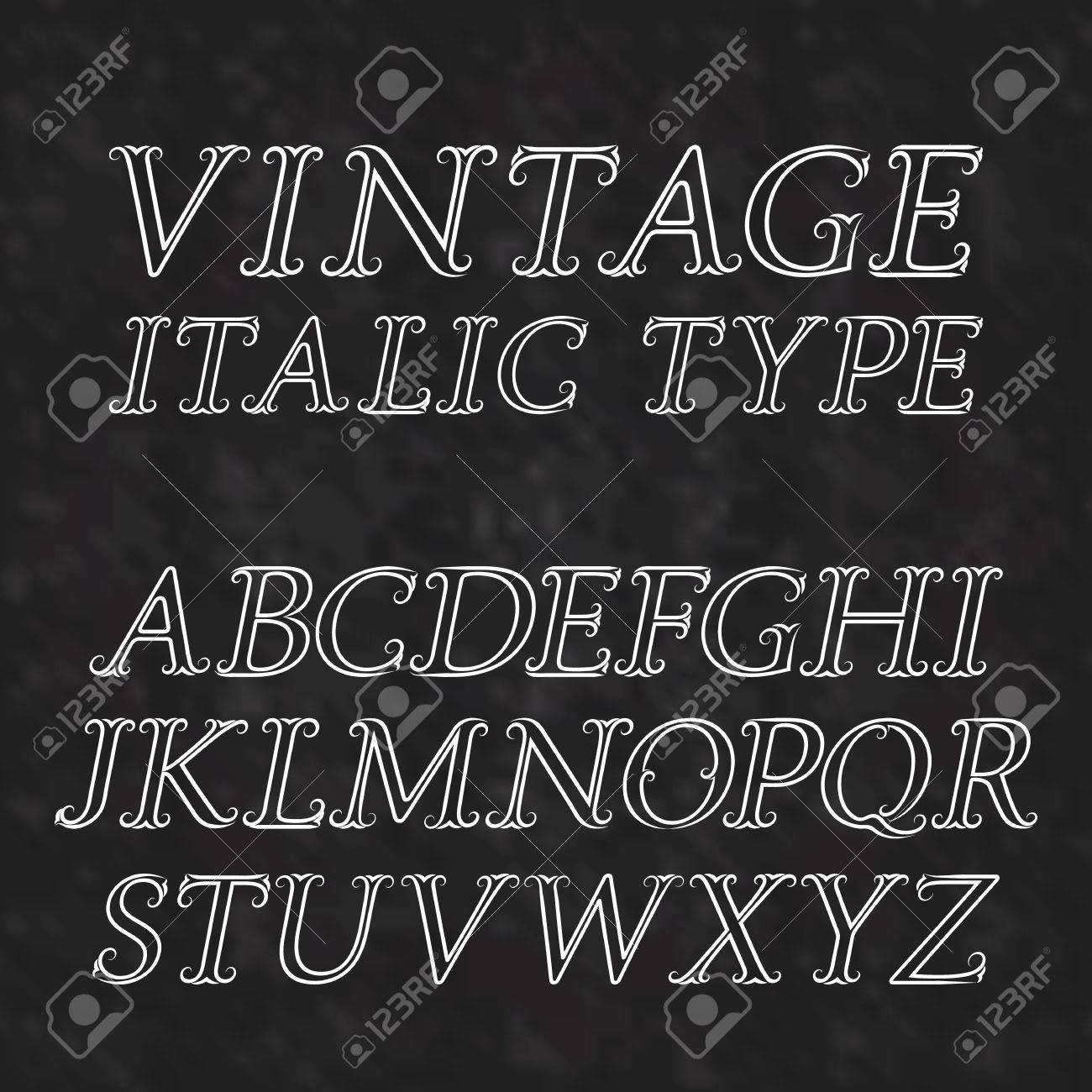 vintage letters with flourishes vintage italic type font in