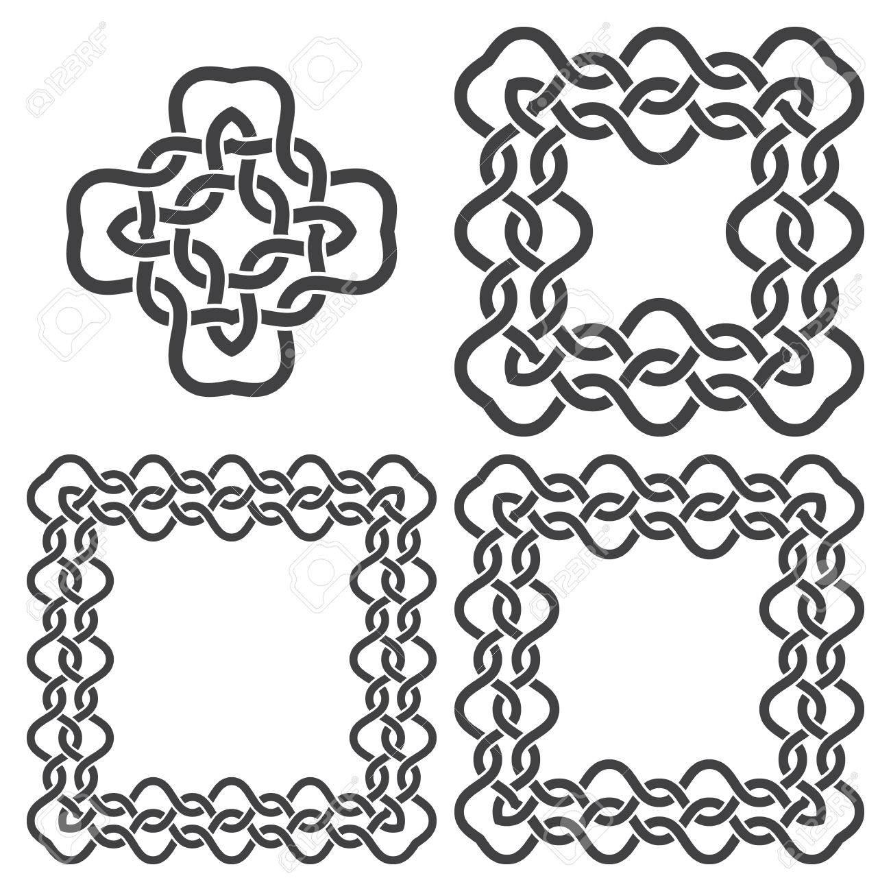 Set Von Magie Verknoten Rahmen Und Keltische Kreuz. 4 Quadrat ...