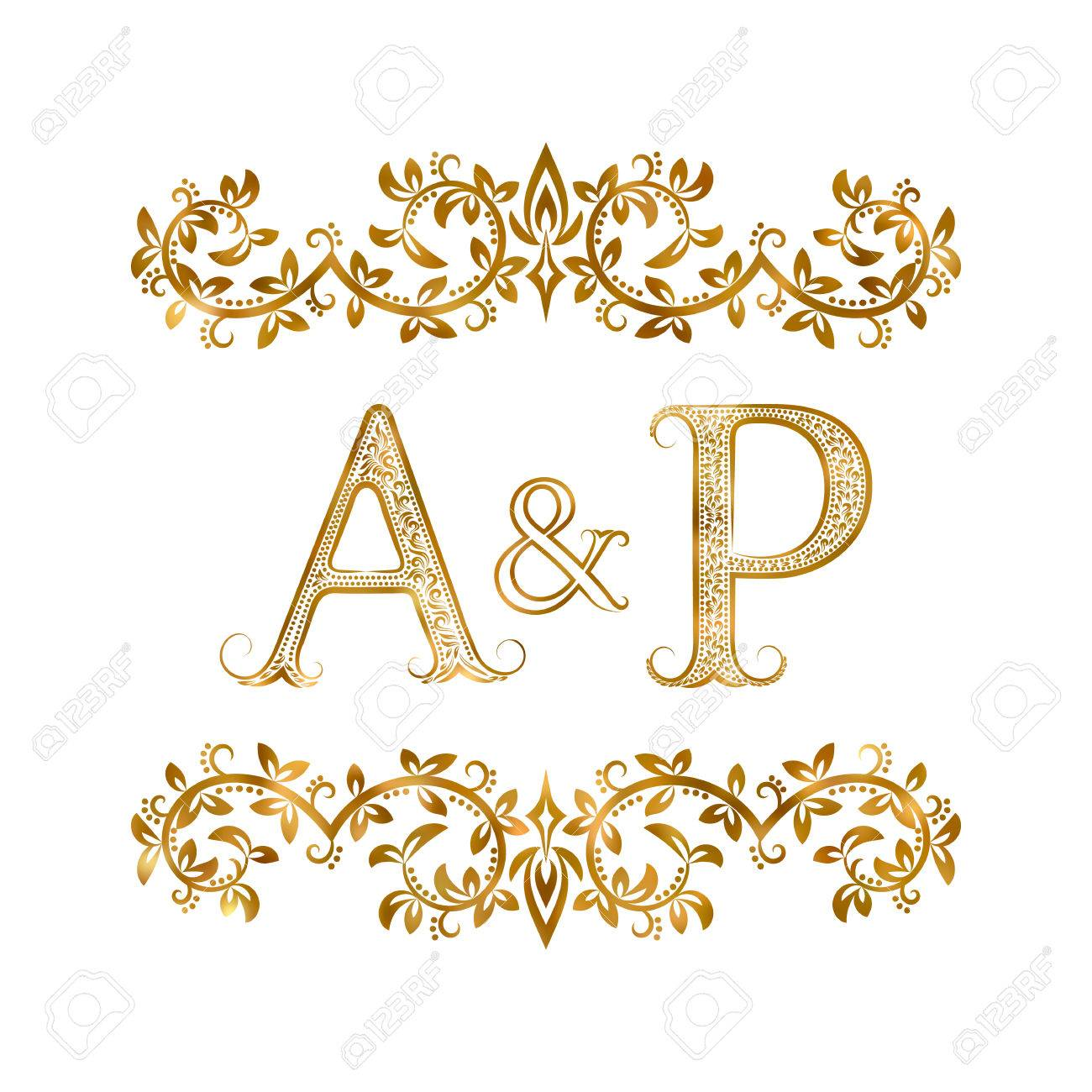 Ap Vintage Initials Symbol Letters A P Ampersand Surrounded