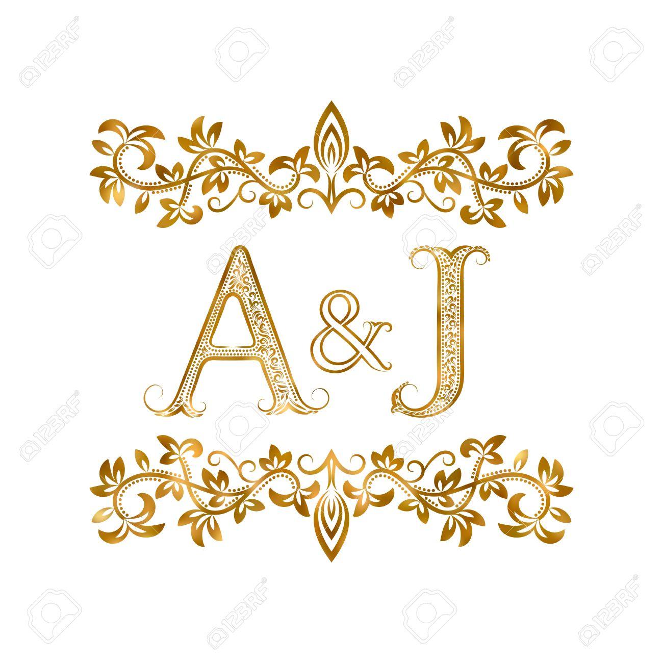 A J Vintage Initials Symbol Letters A J Ampersand Surrounded