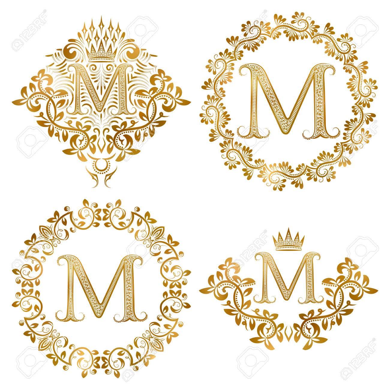 Lettre D Or M Cru Monogrammes Fixes Monogramme Heraldique En