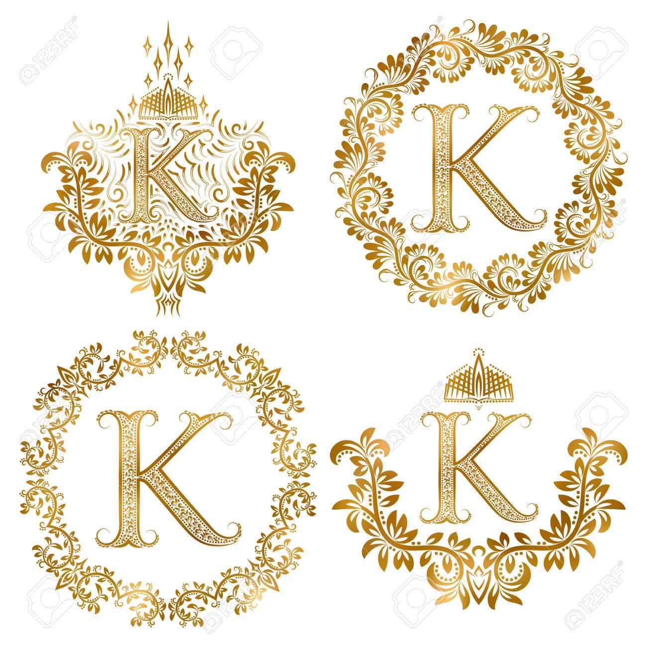 Or Lettre K Vintage Monogrammes Fixe Monogramme Heraldiques Couches
