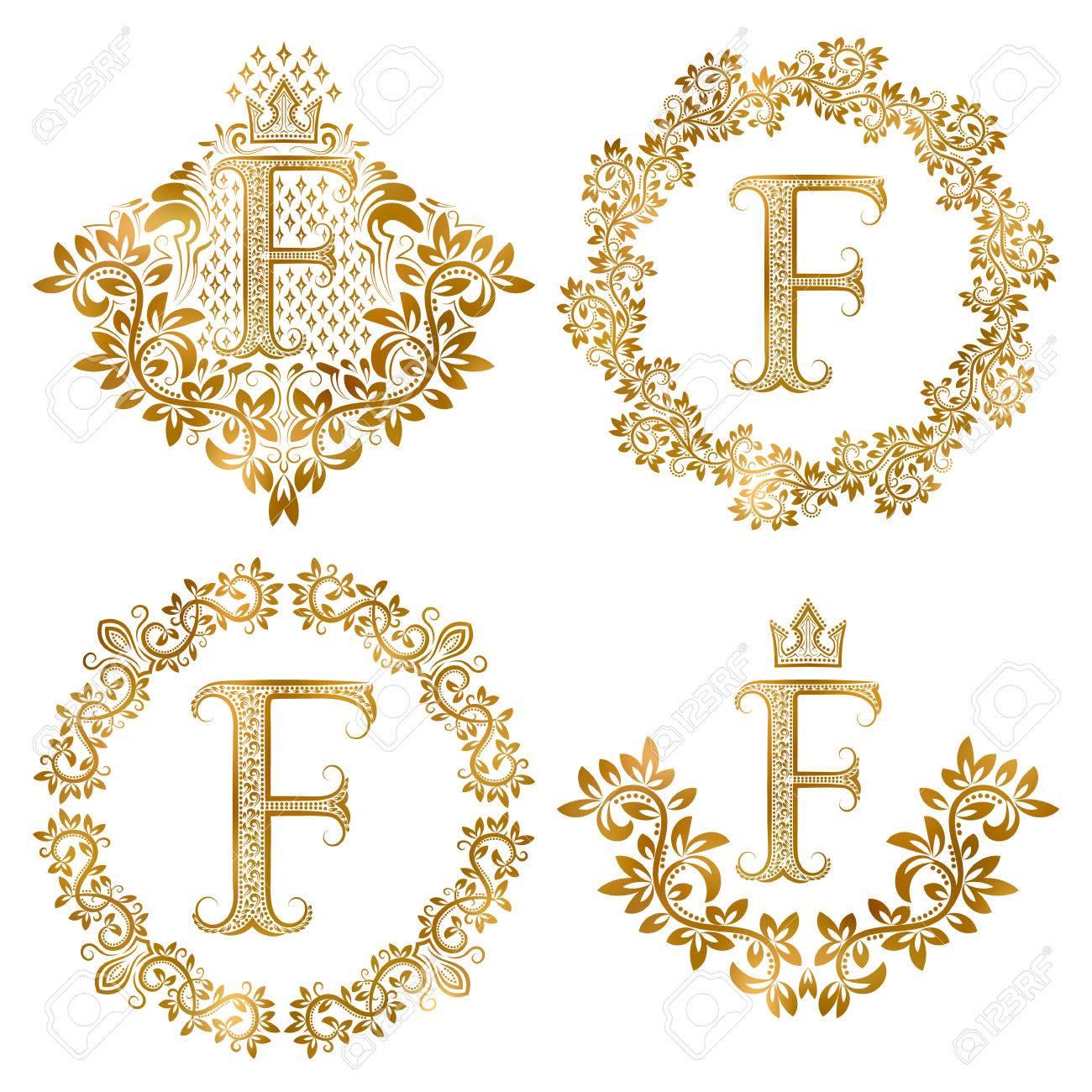 Lettre D Or F Millesime Monogrammes Fixes Monogramme Heraldique En