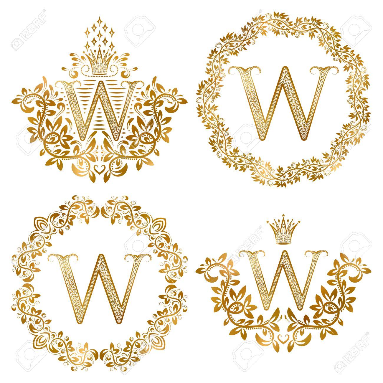 Monogramas Vendimia W Letras De Oro Fijados. Escudos Heráldicos Y ...