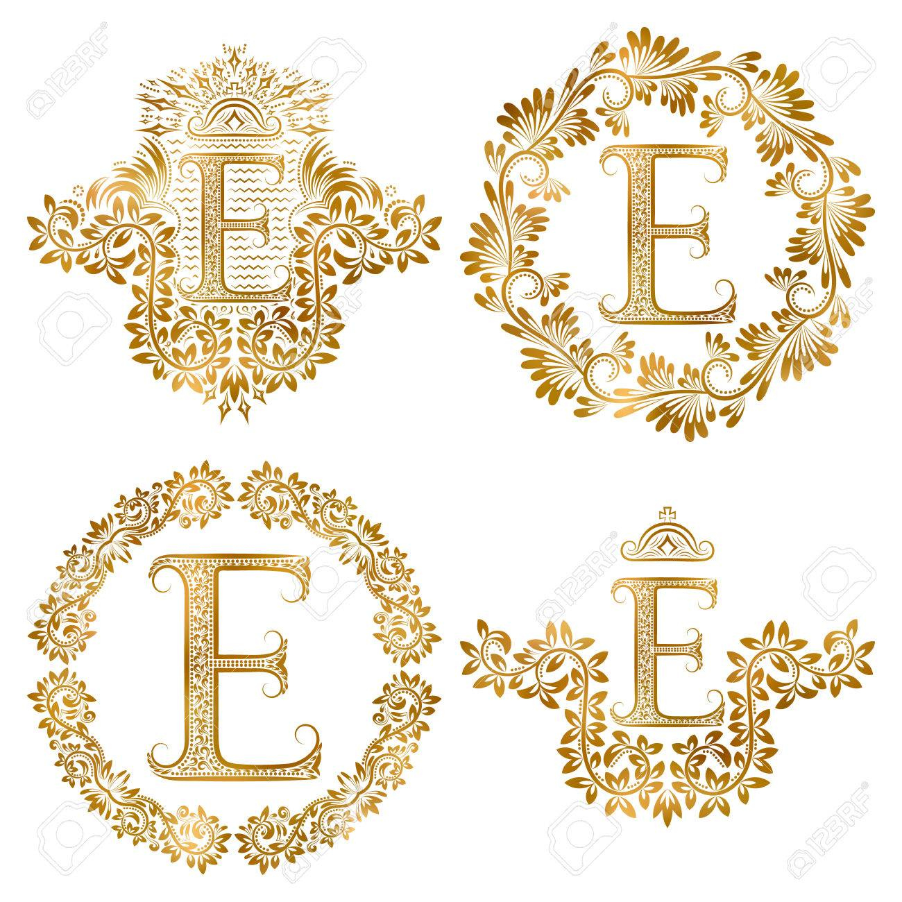 Ensemble De Monogrammes Vintage Lettre Doree E Monogramme