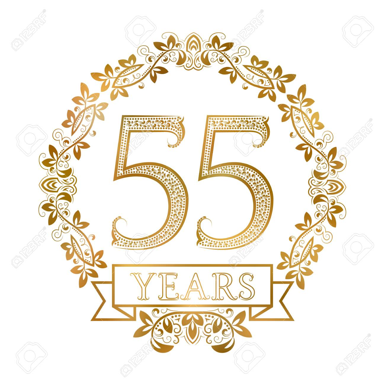 Goldene Emblem Von Der 55.-jährigen Jubiläum Im Vintage-Stil. Lizenzfrei Nutzbare Vektorgrafiken, Clip Arts, Illustrationen. Image 68411916.