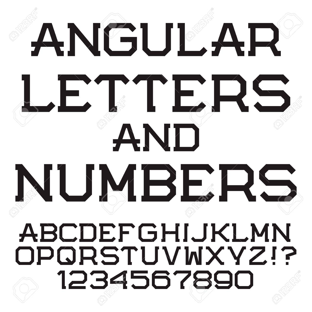 Black Angular Letters And Numbers Stylish Font Isolated Latin Alphabet With Figures Stock