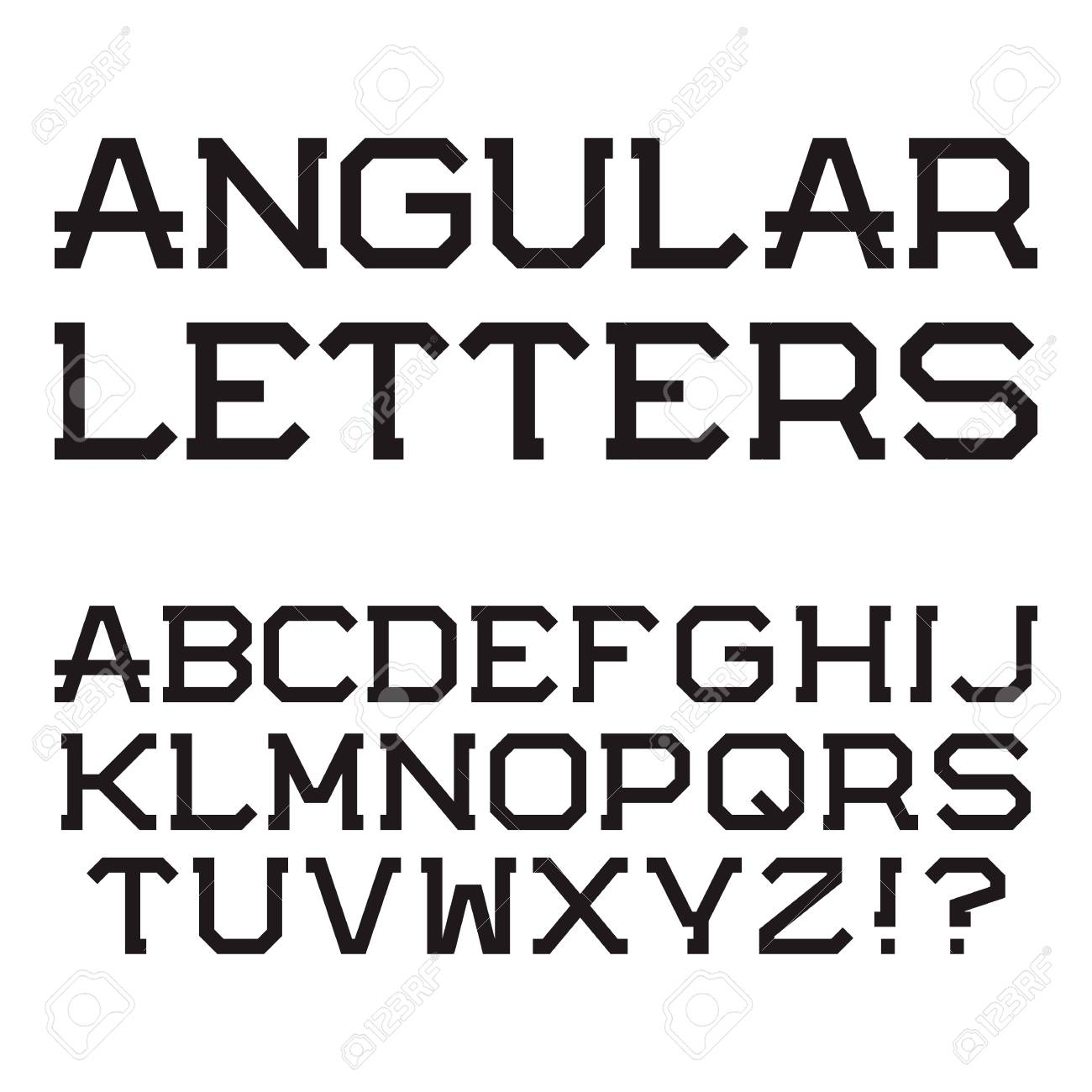 Black Angular Capital Letters Stylish Font Isolated Latin Alphabet Stock Vector