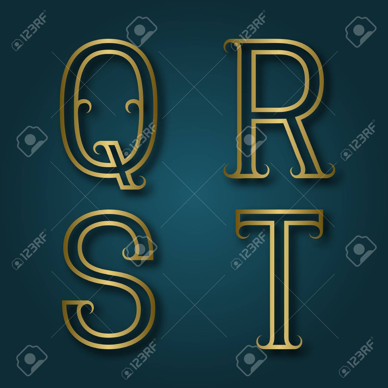 Q, R, S, T shiny golden letters with shadow. Outline font with