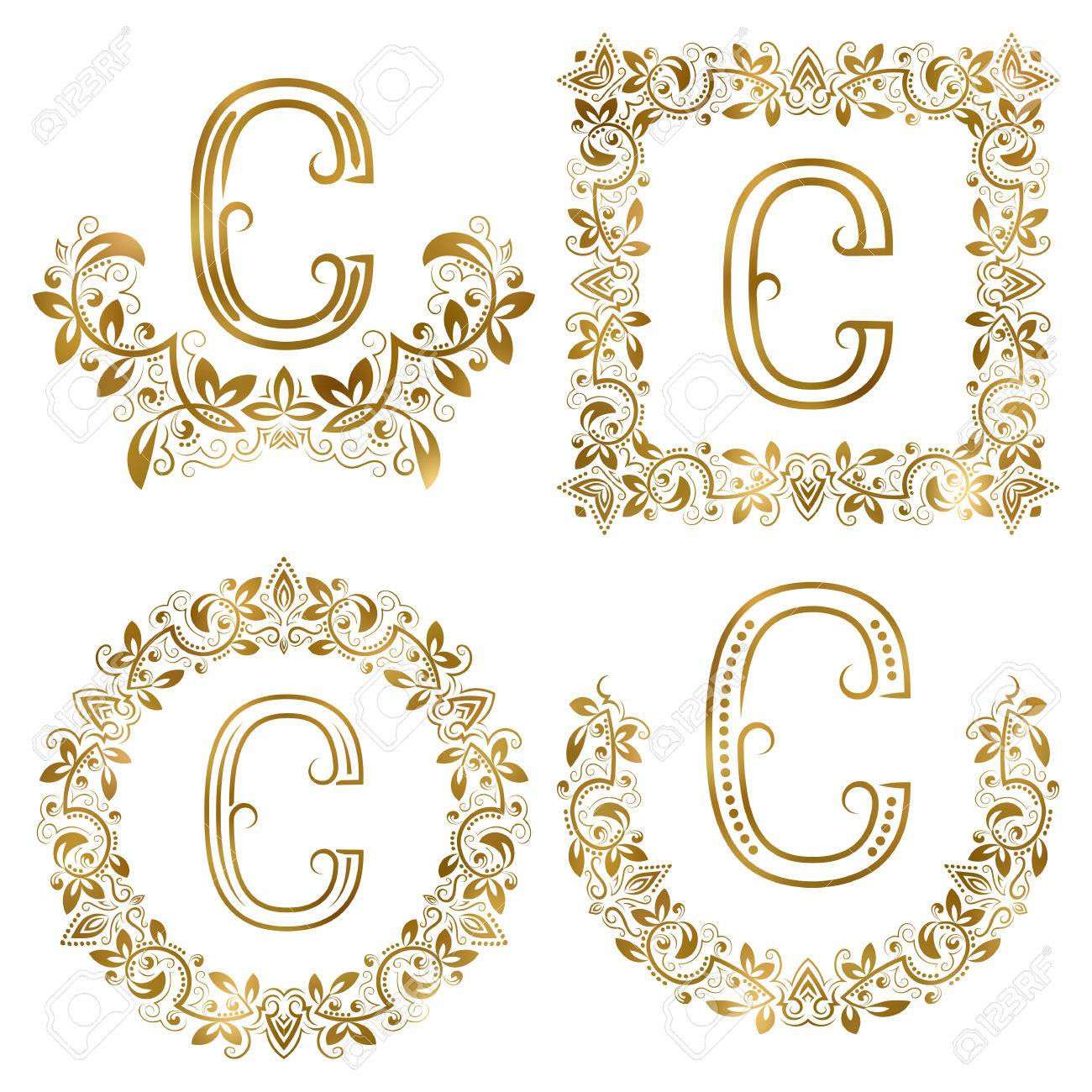 Golden c letter ornamental monograms set heraldic symbols in golden c letter ornamental monograms set heraldic symbols in wreaths square and round frames buycottarizona Image collections