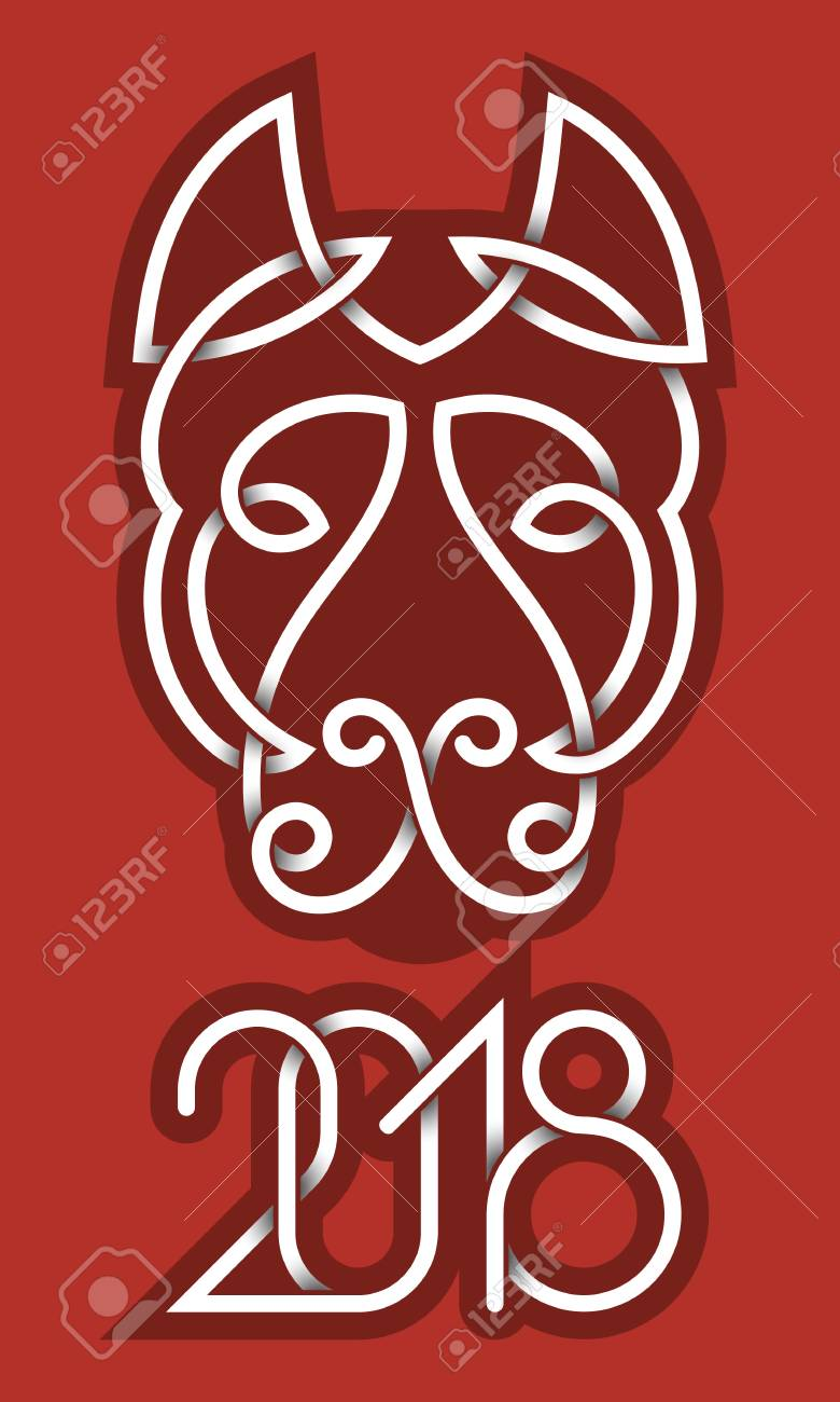 2018 chinese new year greeting card template dog head and numbers design elements stock