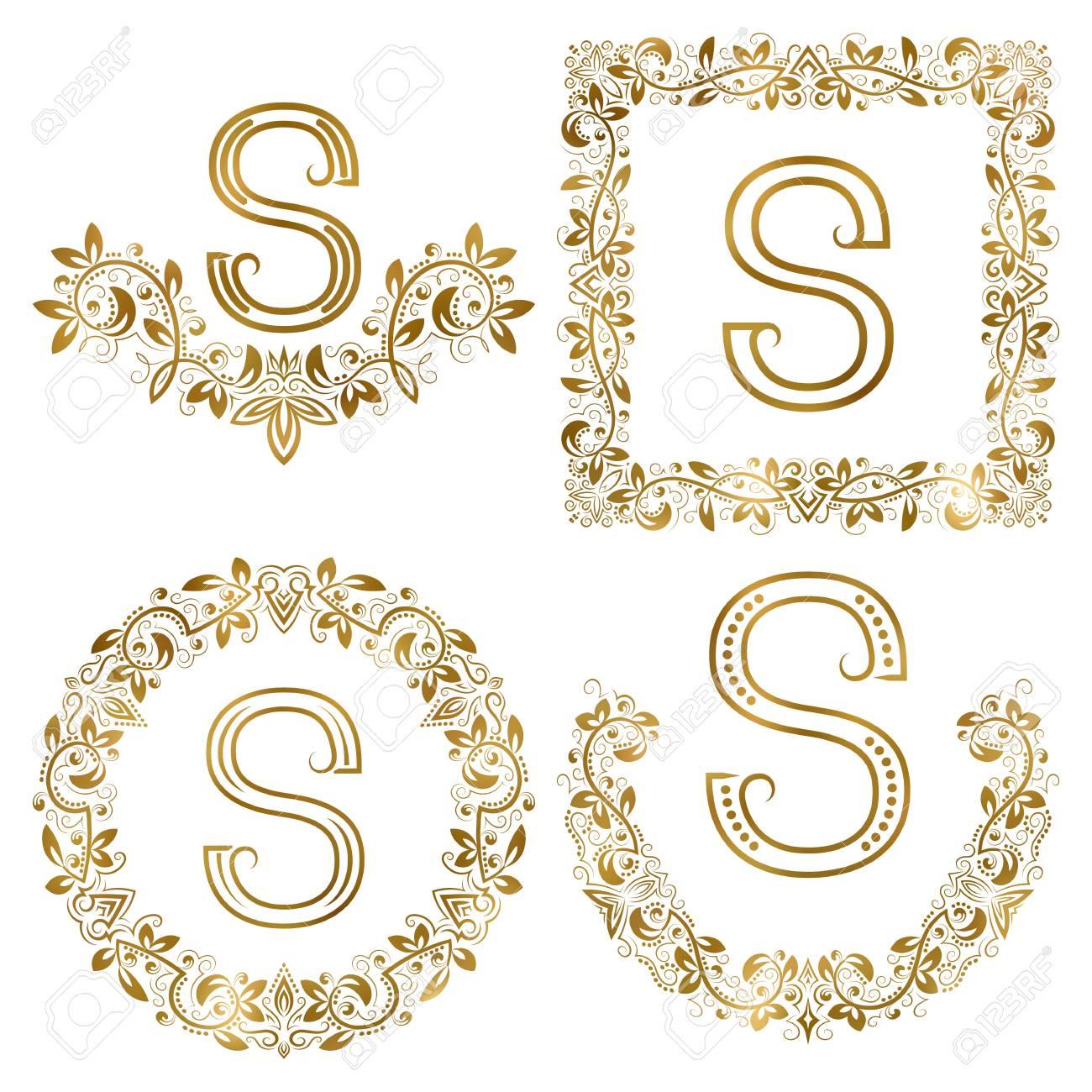 Golden S Letter Ornamental Monograms Set Heraldic Symbols In