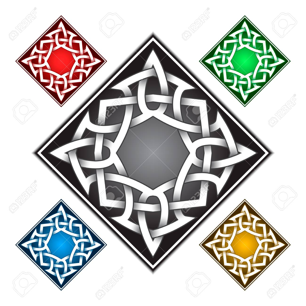 Rhombus Icon Template In Celtic Knots Style Stylish Tattoo Symbol