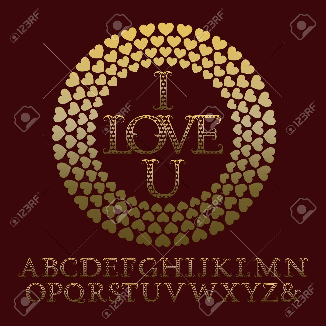 Gold Patterned Letters With Tendrils Vintage Font In Romantic