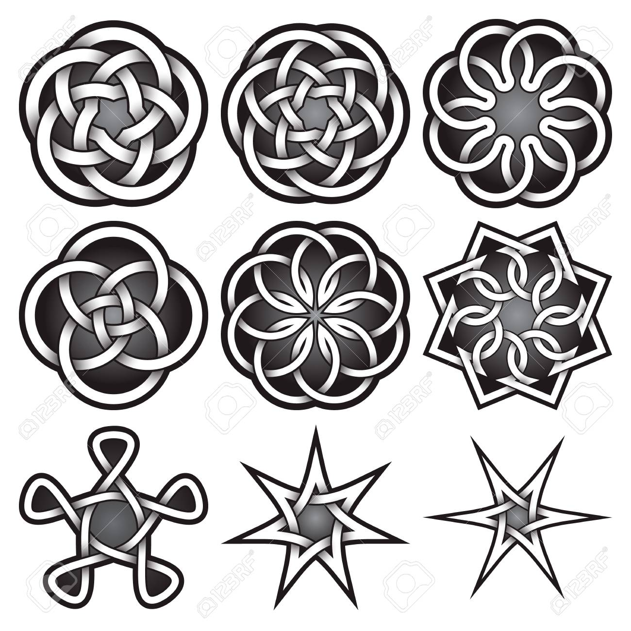 set of logo templates in celtic knots style tribal tattoo symbols
