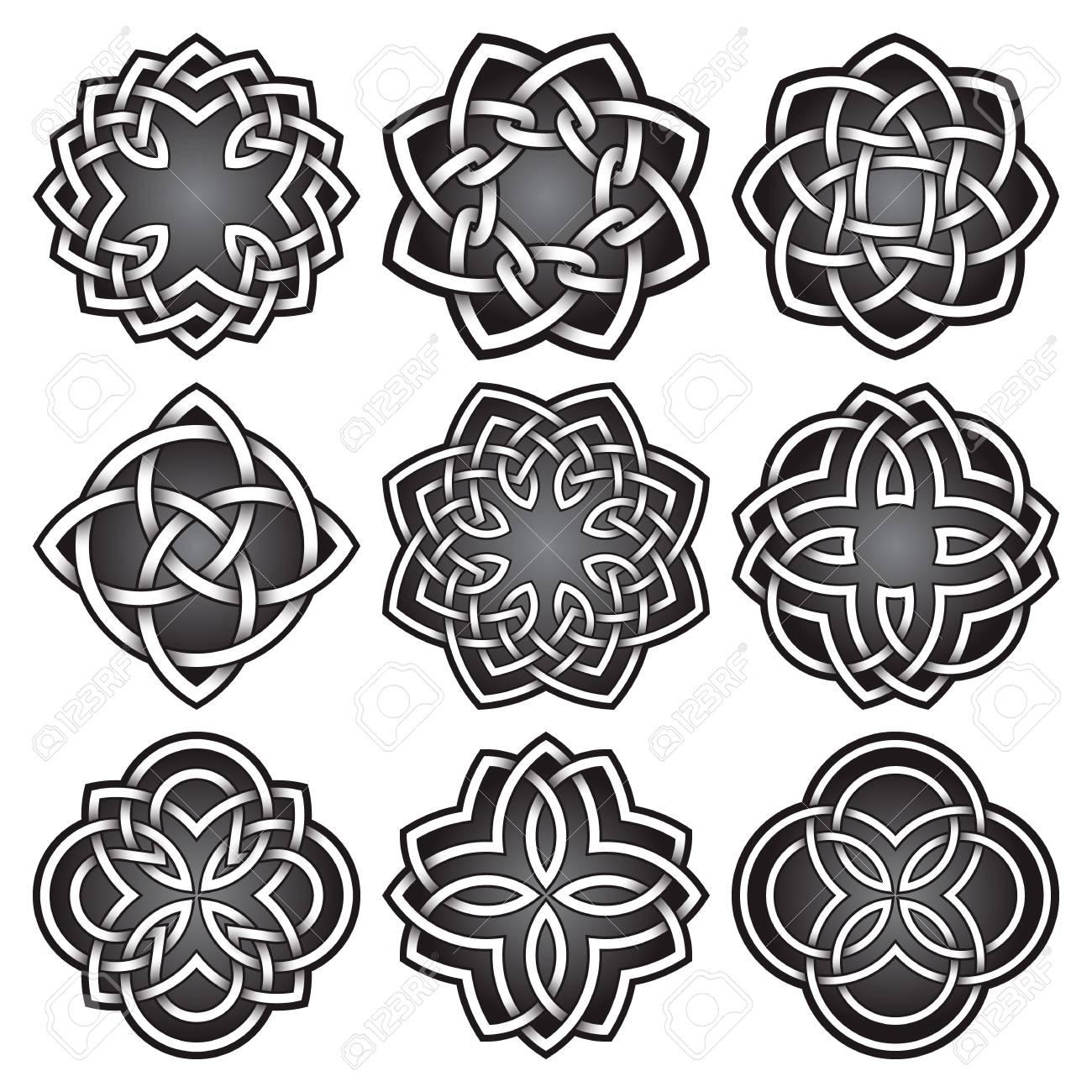 Set Of Logo Symbols In Celtic Knots Style Tribal Tattoo Symbols
