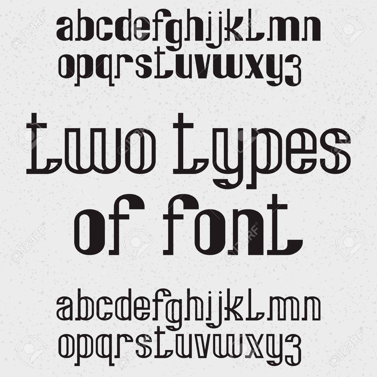 Two types of font - full and hollow. Black lowercase letters. Isolated english alphabet. - 126558896