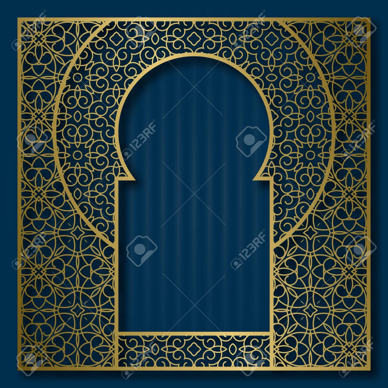 Golden patterned frame in oriental arched window form. Vintage greeting card background or packaging design frame. - 128286782