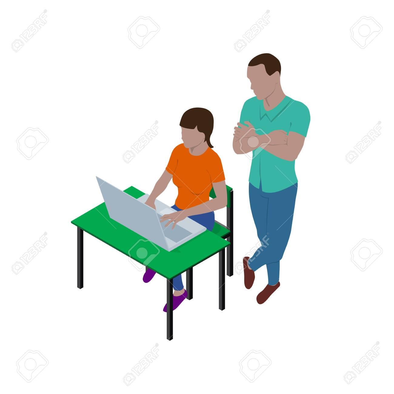 Girl sitting at desk with laptop and guy is standing nearby and watching what she is doing. People in isometric view. Teacher and student or boss and employee. - 154513086