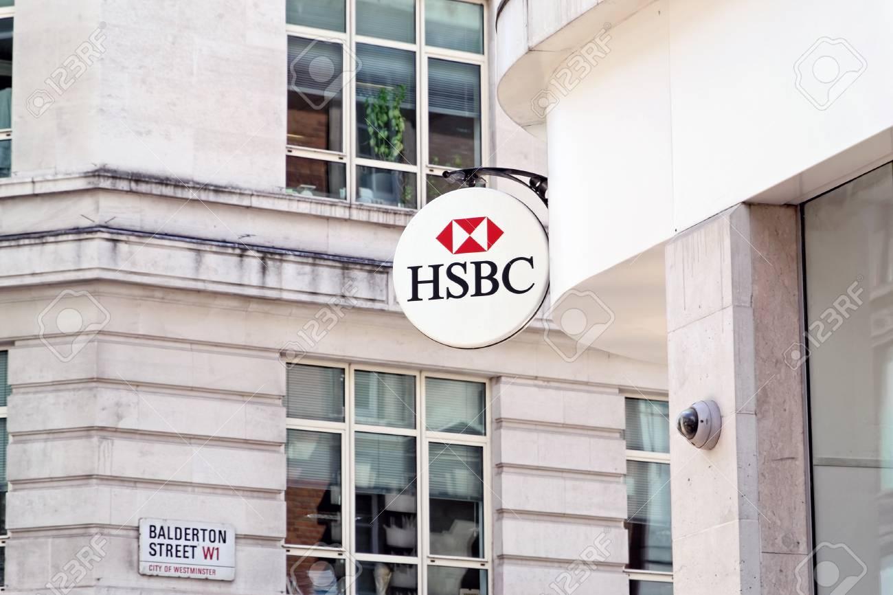 LONDON - JULY 1, 2014: HSBC Bank branch in London, United Kingdom