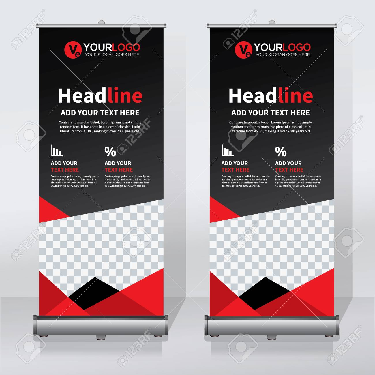 Roll Up Banner Design Template Vertical Abstract Background