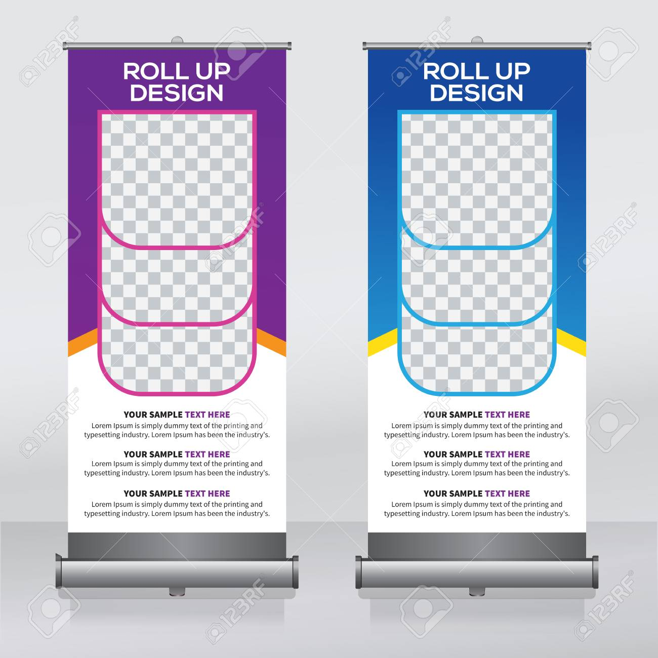 roll up banner design template vertical abstract background pull up design modern