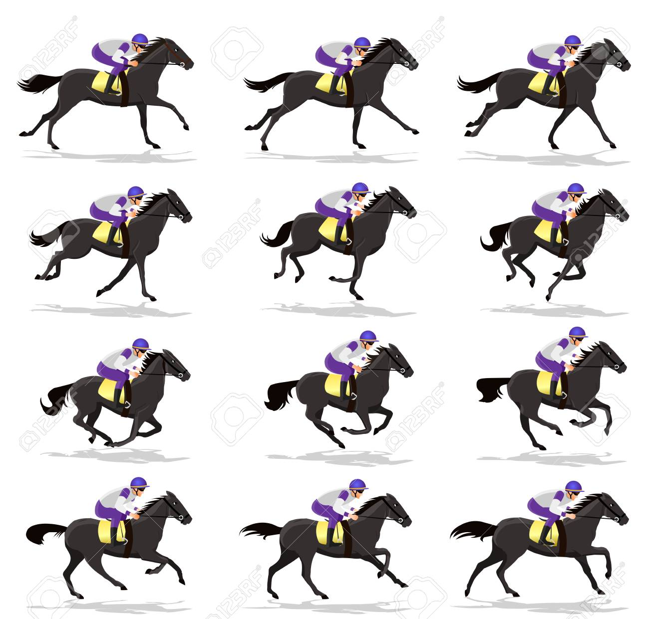 Horse Run Cycle animation Sprite sheet,Horse race Silhouette, Racecourse, Jokey, Rider - 91249740