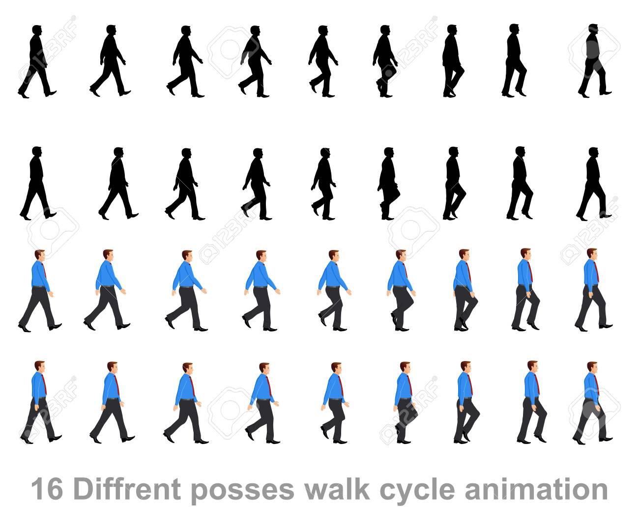 business man walk cycle animation sprite sheet - 108211979