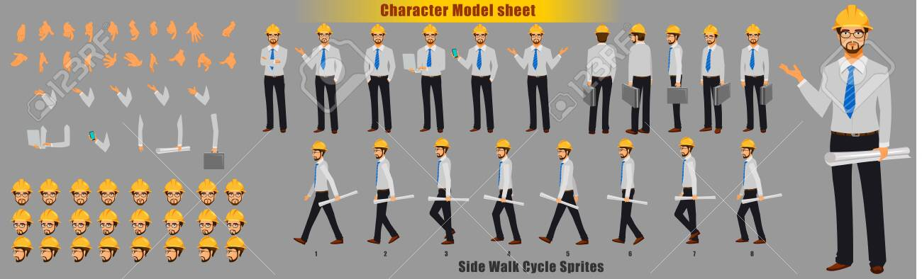 Engineer Character Model sheet with Walk cycle Animation Sequence - 123205238