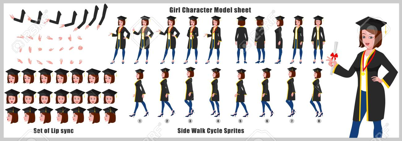 Girl Student Character Model sheet with Walk cycle Animation Sequence - 123205304