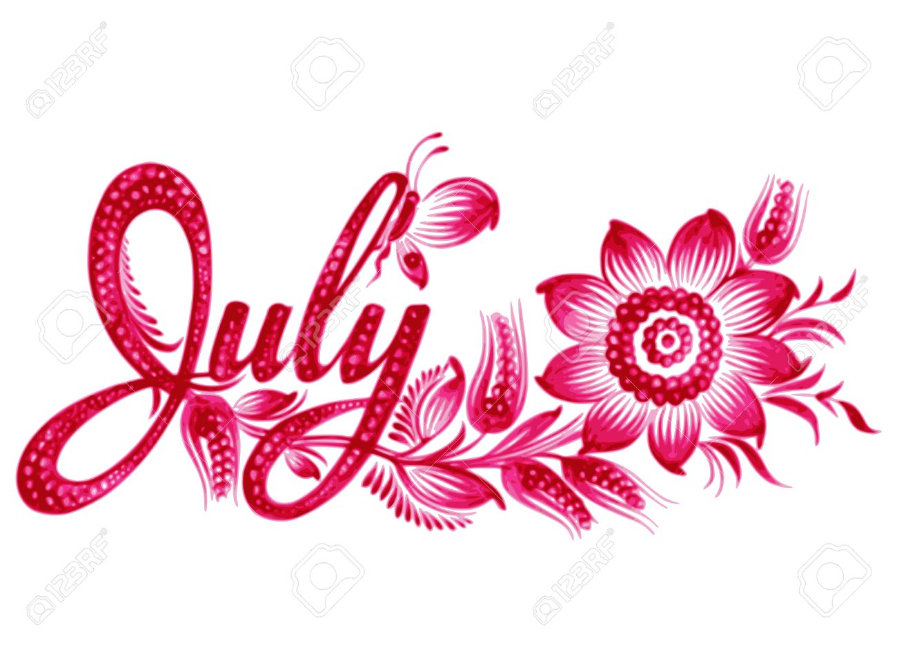 july name of the month hand drawn illustration in ukrainian