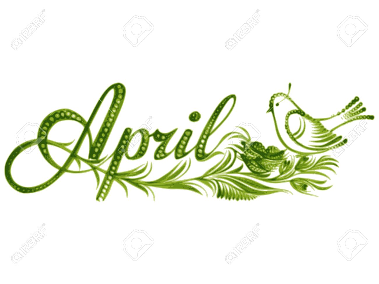 april name of the month hand drawn vector illustration in
