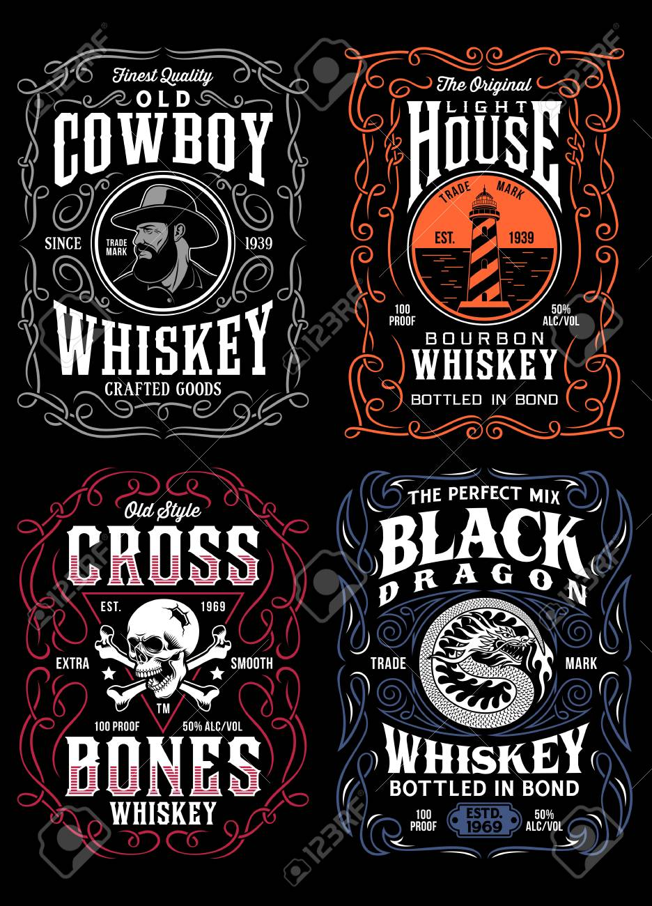 Vintage Whiskey Label T-shirt Graphic Collection - 109473104