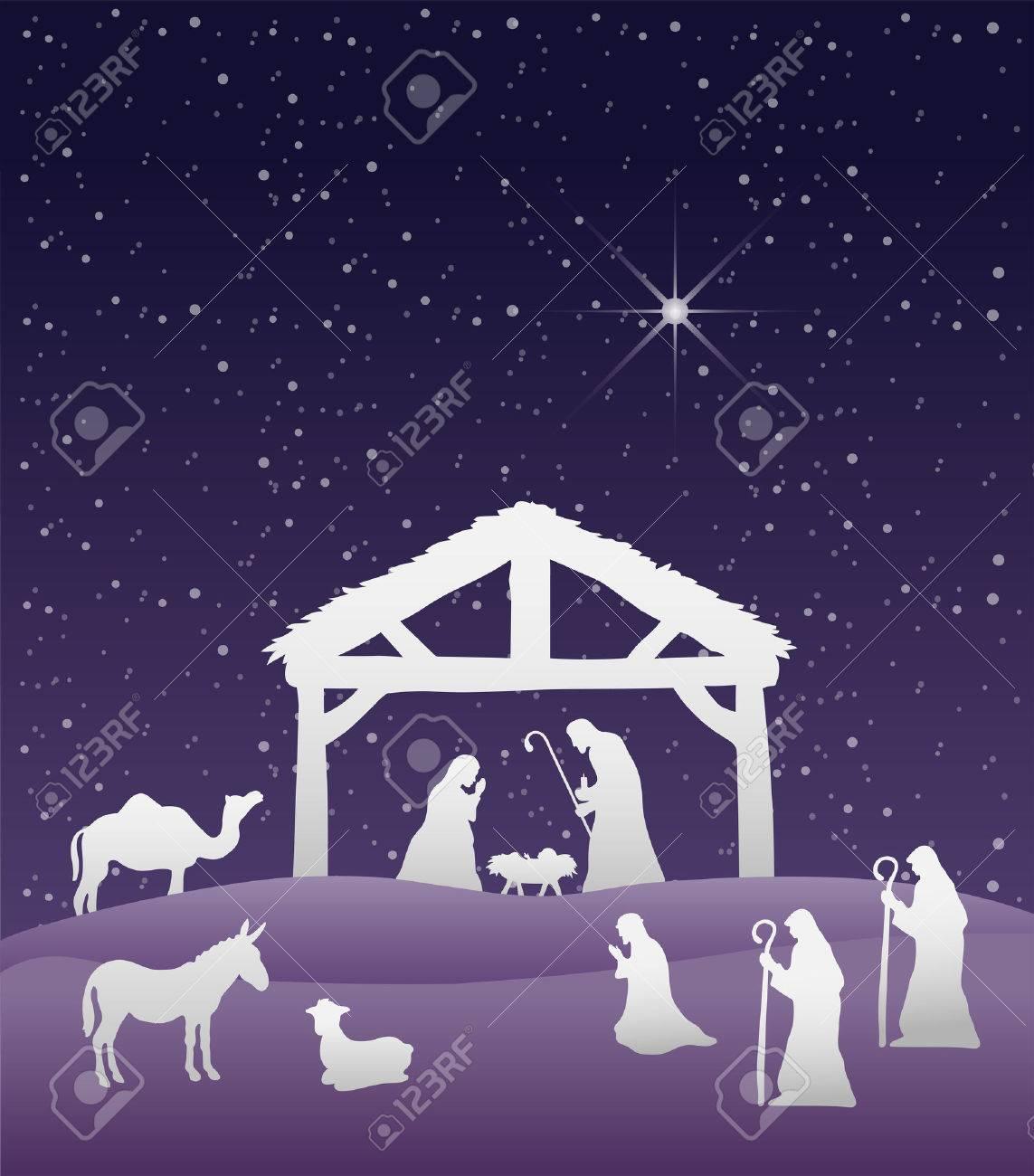 Digitally generated Nativity scene vector under starry sky Stock Vector - 38008235