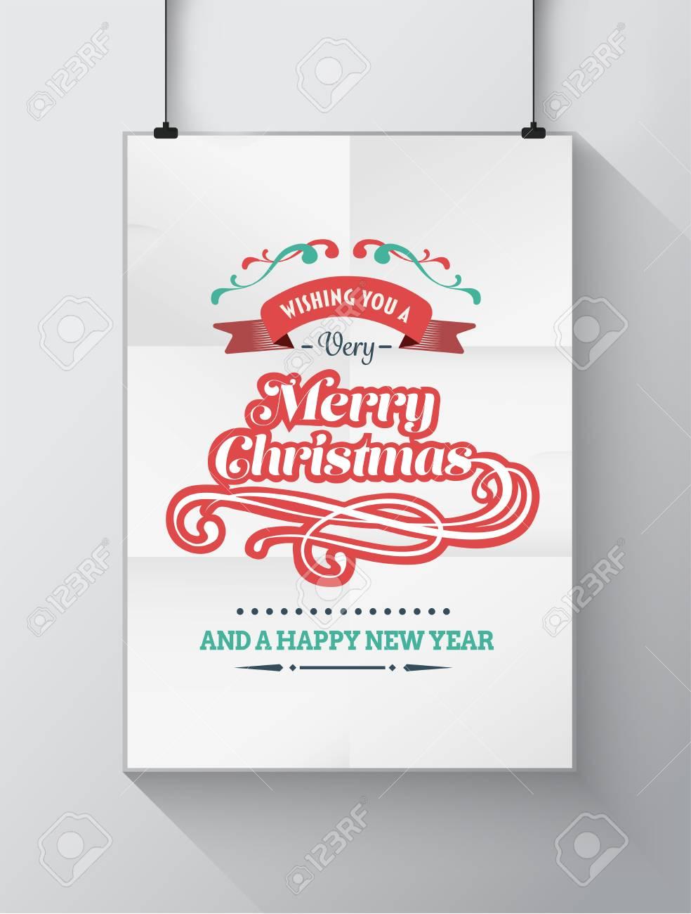 Digital Generiert Weihnachten Begrüßung Mit Illustrationen Auf ...
