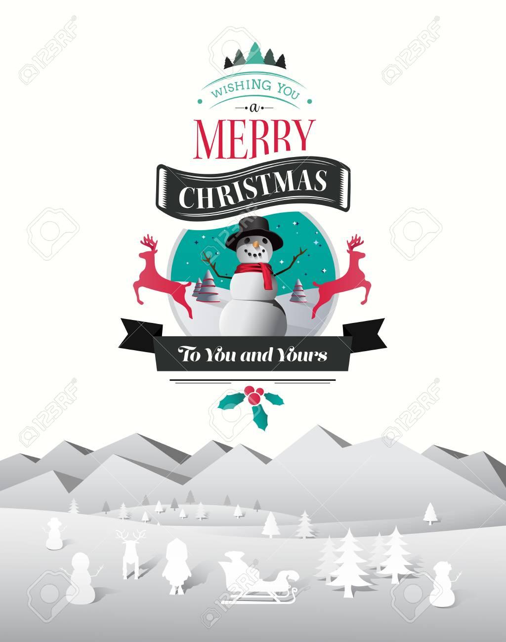 Digital Generiert Weihnachten Begrüßung Mit Illustrationen Vektor ...