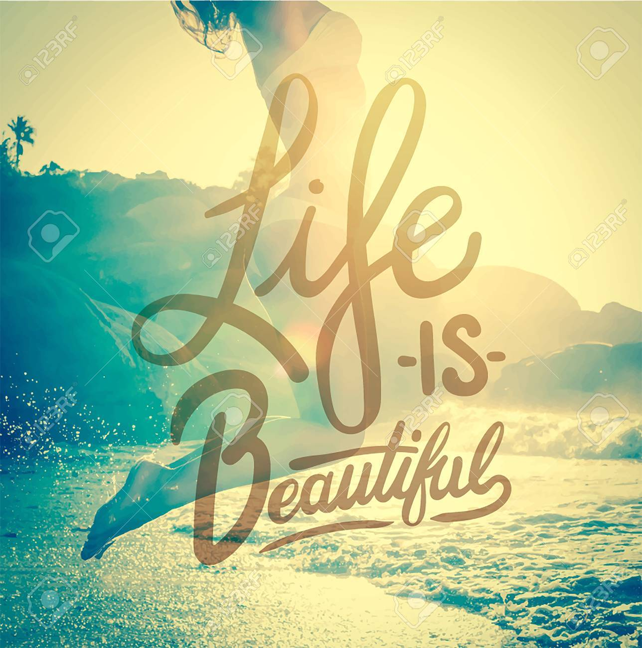 Digitally generated Life is beautiful vector Stock Vector - 38097257