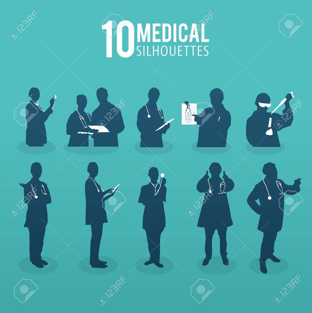 Digitally generated Ten medical silhouettes vector Stock Vector - 38673117