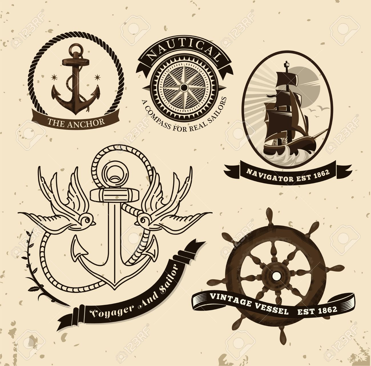 Design Nautical Theme digitally generated vintage style nautical theme vector royalty stock 38677117