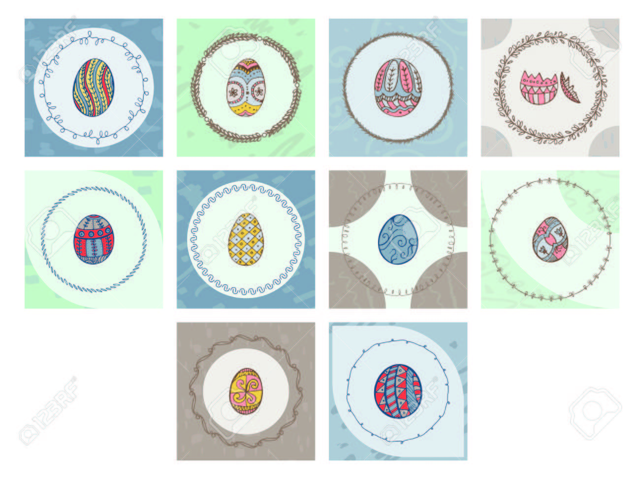Vector icon set of greeting cards with easter egg symbol against vector vector icon set of greeting cards with easter egg symbol against white background m4hsunfo