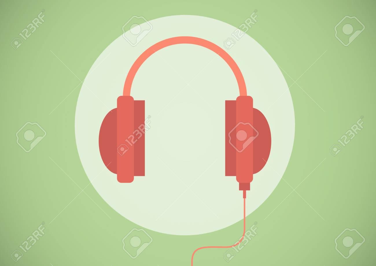 緑の背景のサースで赤いヘッドフォン イラスト アイコンのデジタル合成