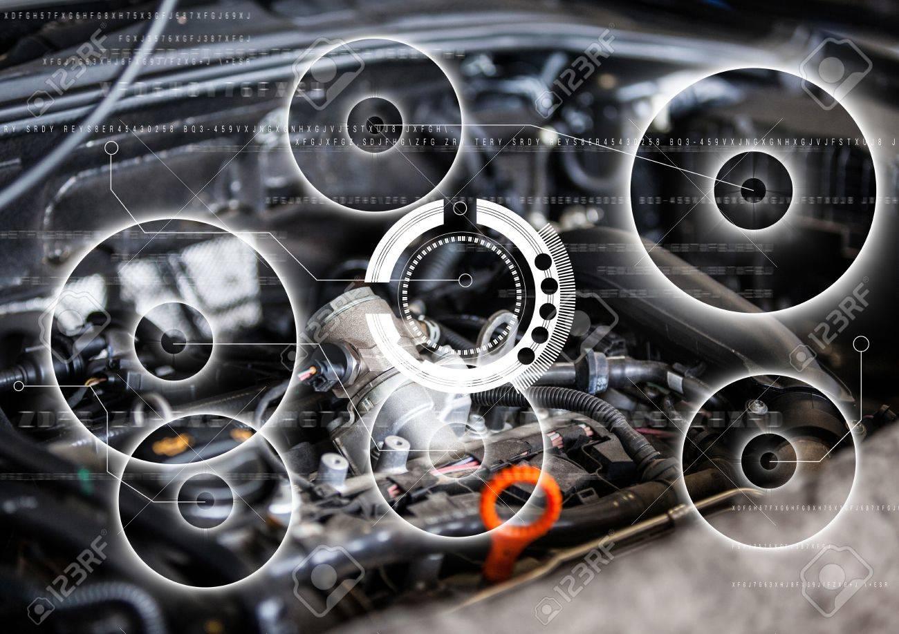 Digital Composite Von Auto-Motor Mit Weißen Schnittstelle ...