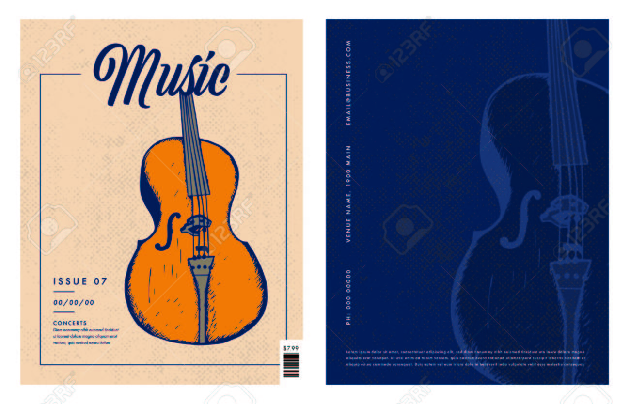 Vector Of Greeting Card With Violin And Music Text Against Green