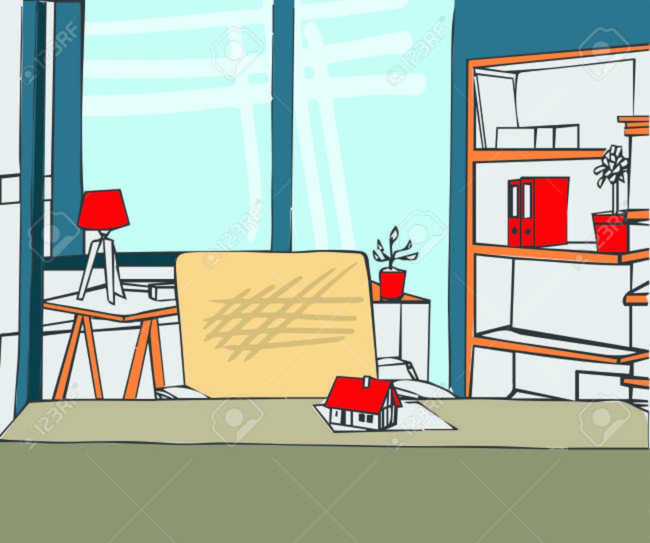 Illustration Der Innenraum Der Kabine Im Büro Lizenzfrei Nutzbare ...