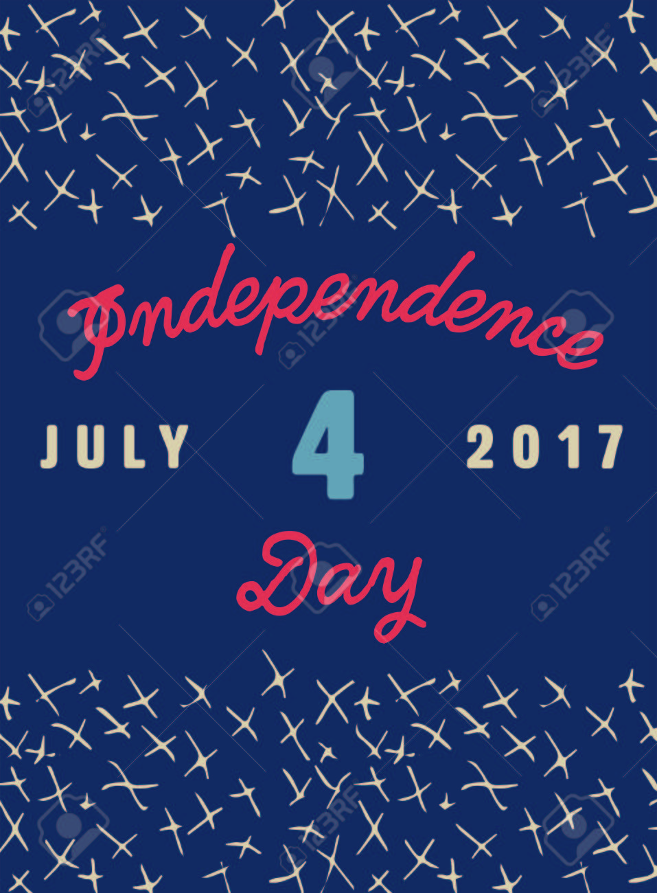 Vector Of Greeting Card With Fourth Of July Message Royalty Free