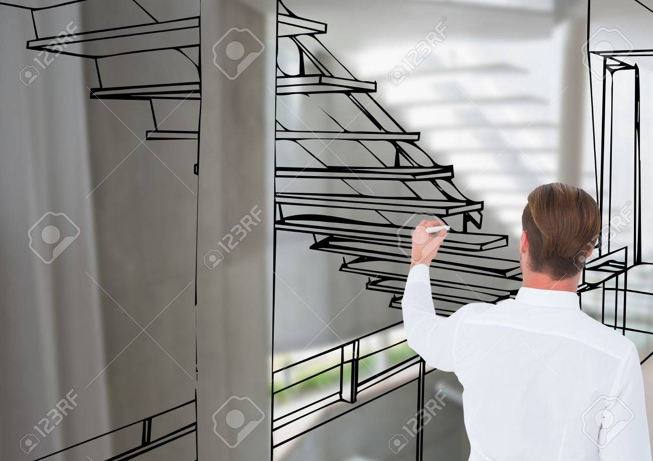 Drawing Lines In Office : Digital composite of man drawing d office stair lines stock photo